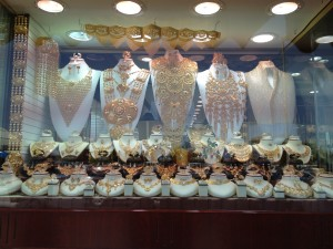 Some of the wedding jewelry on display in the gold souk (market)